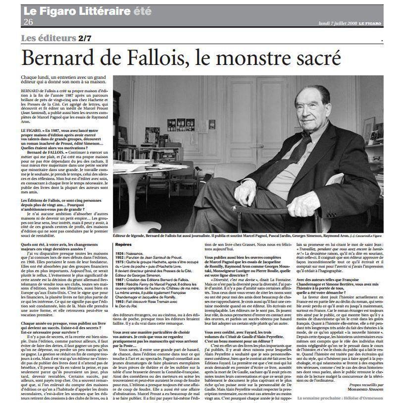 Le grand éditeur Bernard de Fallois est mort - cree ta propre maison
