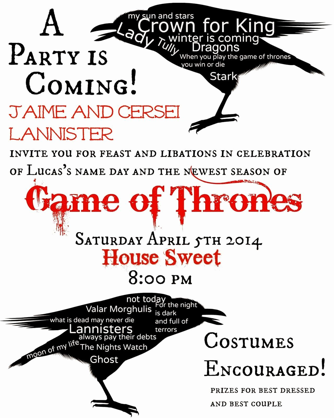 Game Of Thrones Party Invitation Luxury Game Of Thrones themed