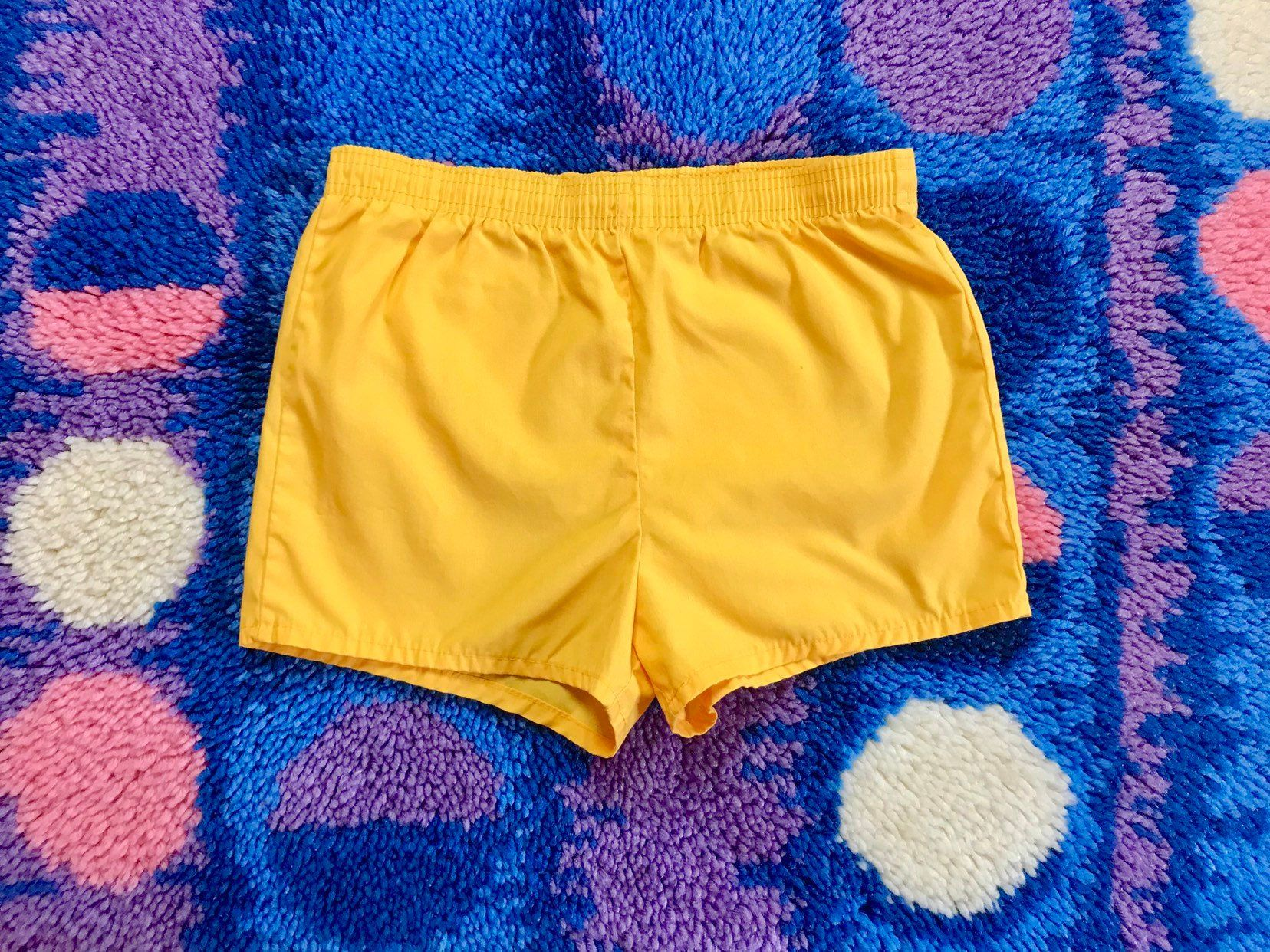 ff94b91d8f041 Vintage 1970s yellow swim trunks men's XS/S retro 70s 80s short shorts hot  pants