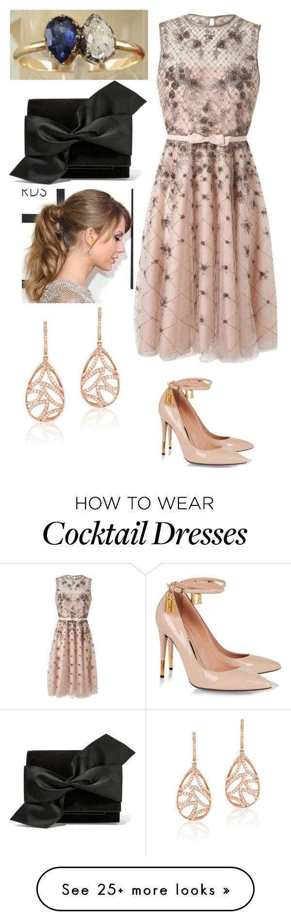 """""""Cocktail"""" by thecrownoutfits on Polyvore featuring Valentino, Tom Ford, Victoria Beckham and Effy Jewelry"""