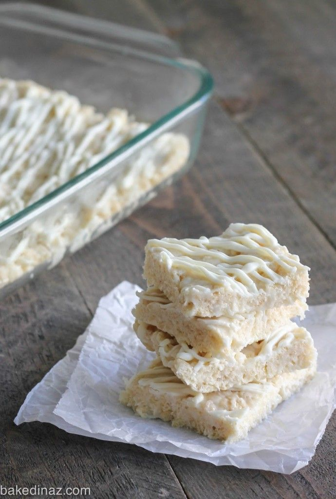 White Chocolate Rice Crispy Treats | Baked in AZ