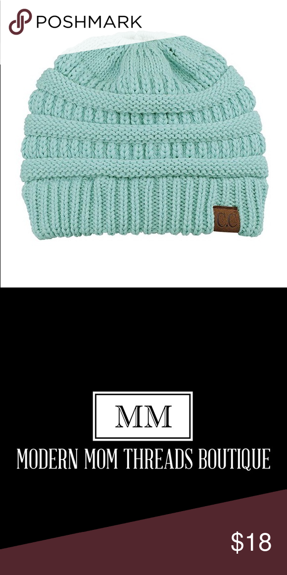 bc225124b41 Mint CC Messy Bun Beanie CC BeanieTail Soft Stretch Cable Knit Messy High  Bun Ponytail