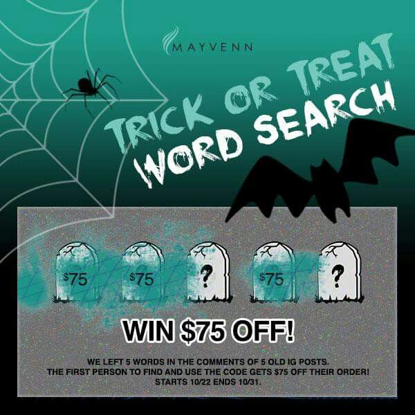 Trick or treat! Who's going to use the codes first? Find them on Instagram @ https://instagram.com/mayvennhair/. Codes can only be used once so hurry! First come first served! #TagAfriend #HappyHalloween #Scream #SpookyBundles #MayvennHair #WordSearch #Competition #Discount #VirginHair