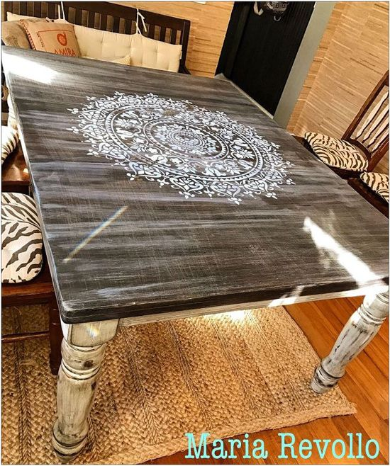 Beautiful Learn How To Stencil A Wood Kitchen Table Using The Prosperity Mandala  Stencil From Cutting Edge
