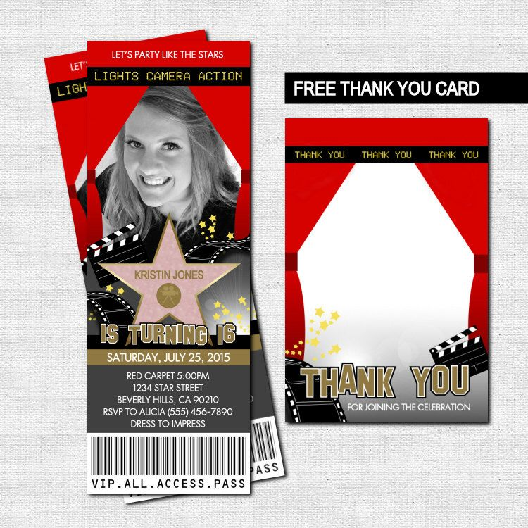 HOLLYWOOD TICKET INVITATIONS Red Carpet Party Bonus by nowanorris ...