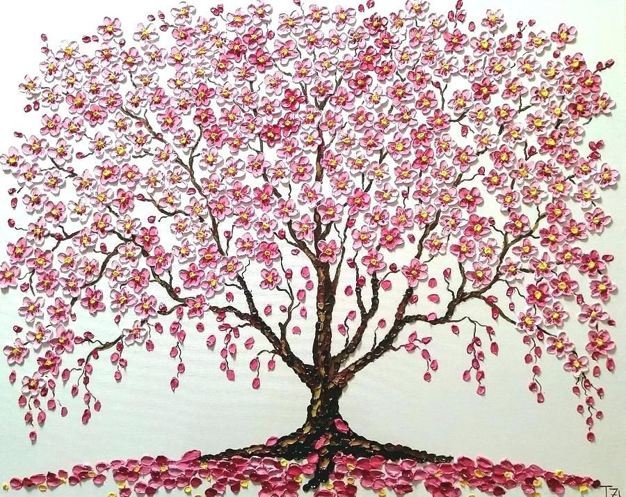 Beginner Acrylic Paintings Cherry Blossoms Google Search Blossom Trees Tree Painting Tree Art