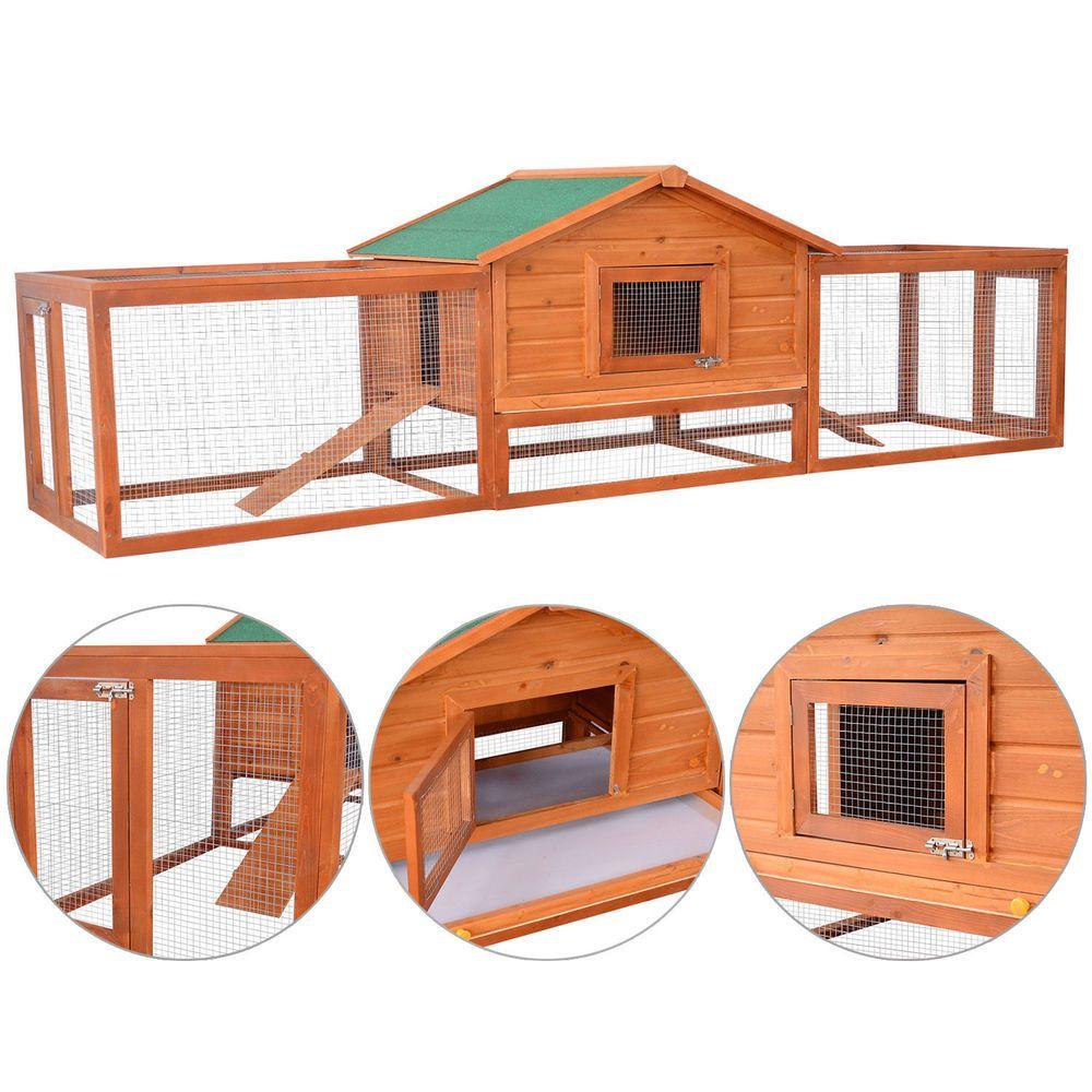 PawHut Large Wooden Habitat Coop Chicken Rabbit Hen House Pet Hutch W/ Ramp  Run