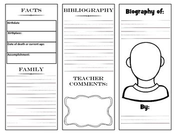 Biography Brochure Project With Graphic Organizer Graphic