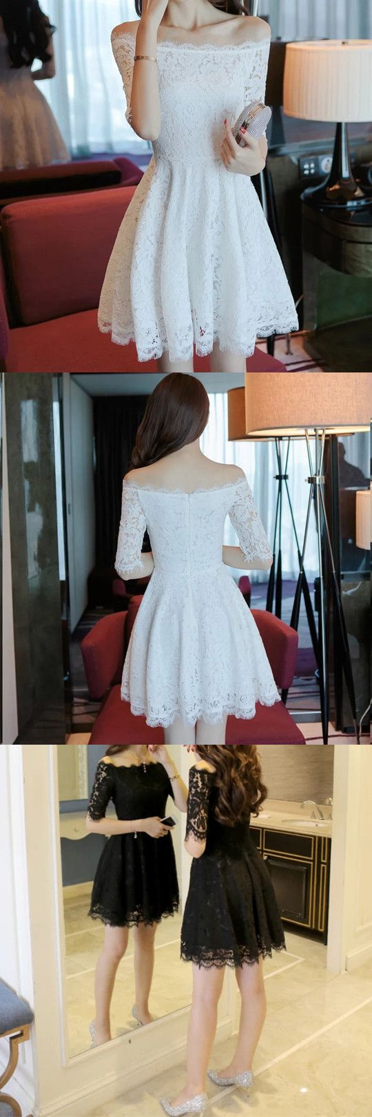 White homecoming dresslace homecoming dressesoff shoulder prom