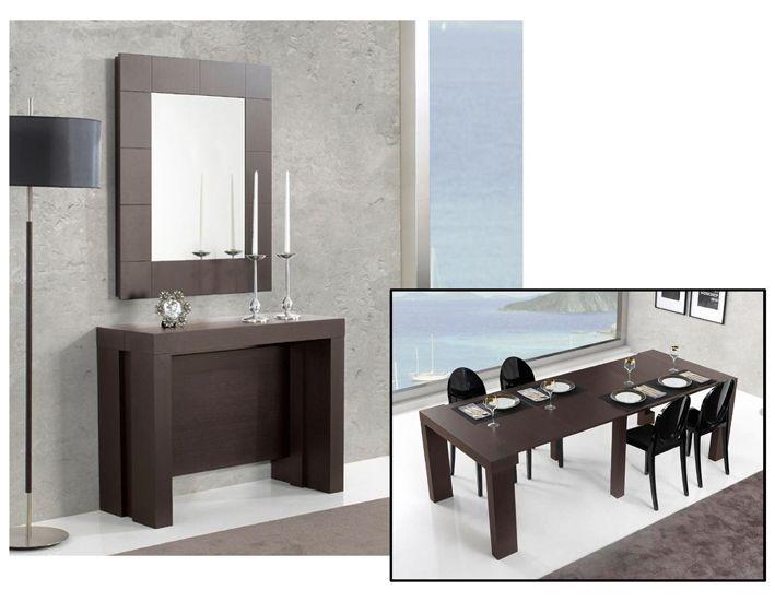 Consola con espejo convertible en mesa de comedor for Espejos horizontales para comedor