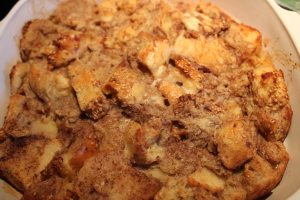 My friend Cybille is a great cook/ baker and I love her Bread pudding recipe. This is her recipe that I used with a loaf of Italian Bread; it had gotten hard and stale over a couple of days from being on my counter.  Stale Bread = Delicious Bread Pudding!