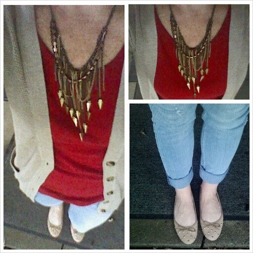 Tan and red outfit, mom style, weekend outfit