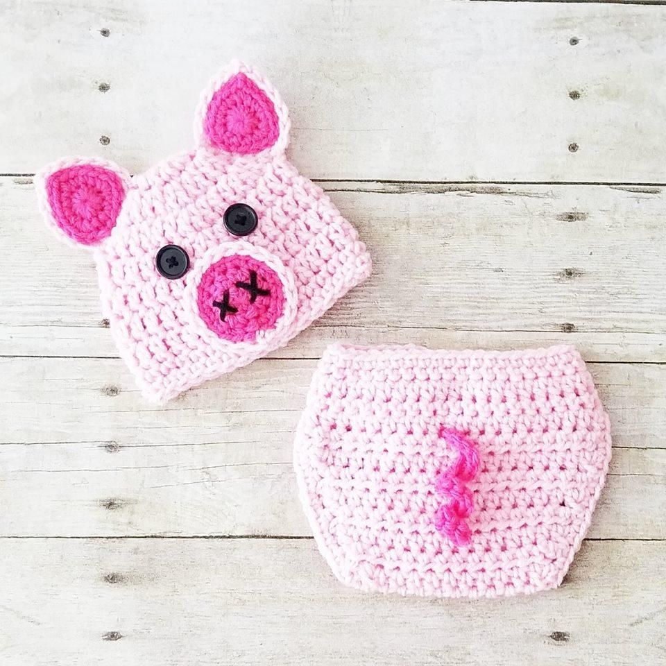 Crochet Baby Pig Hat Beanie Diaper Cover Set Infant Newborn Baby ...