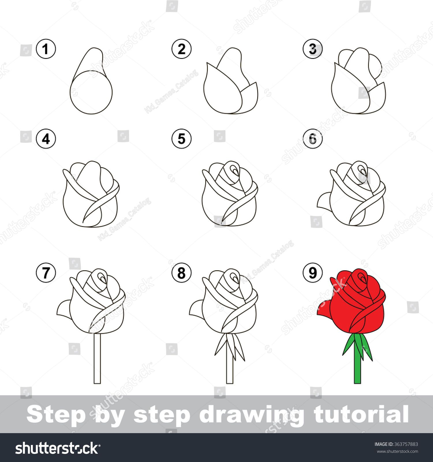 Step By Step Drawing Tutorial Vector Kid Game How To Draw
