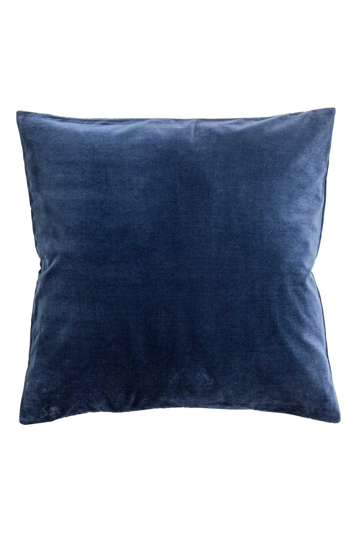 Cotton Velvet Cushion Cover Dark Blue H M Home H M Us Mit Bildern Blaue Kissen Blaue Samtcouch Baumwollsamt