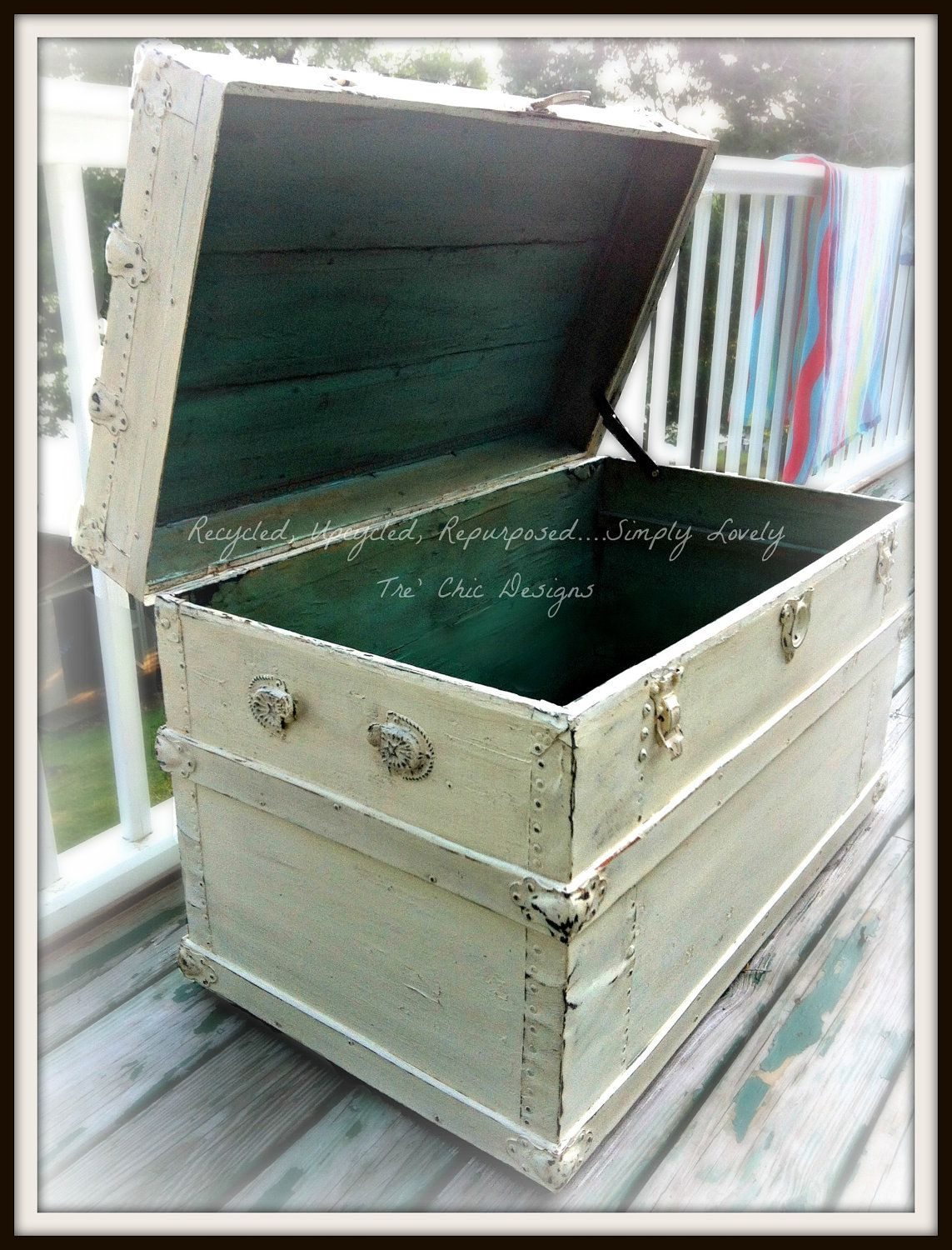 antique distressed wood steamer trunk with vintage decoupaged