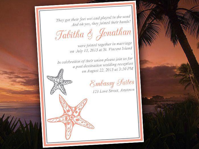 Beach Wedding Reception Invitation Template \