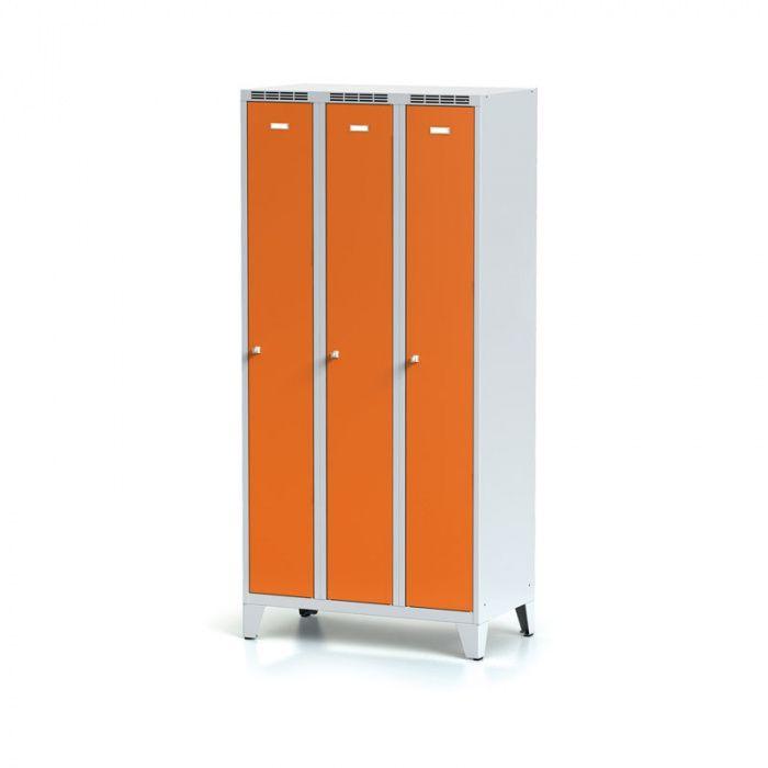 Metal wardrobe, 3-door on legs, orange door, c …