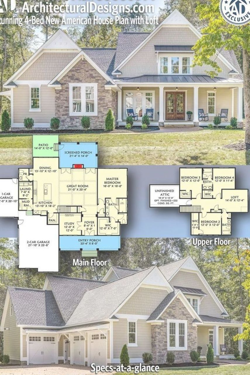 Architectural Designs Exclusive New American Bungalow Plan 500066vv 4 Bedrooms 3 5 Baths 3 00 American Houses House Plan With Loft Craftsman House Plans