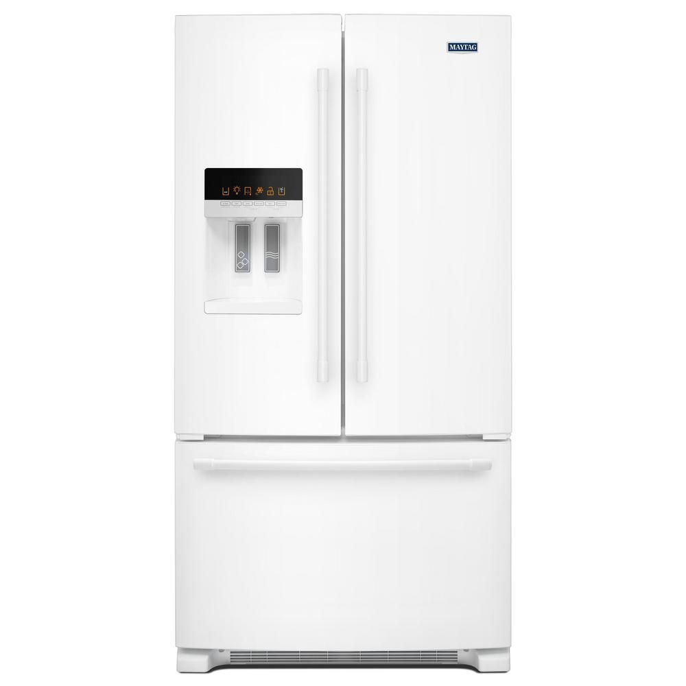 Maytag 25 Cu Ft French Door Refrigerator In Black With Power