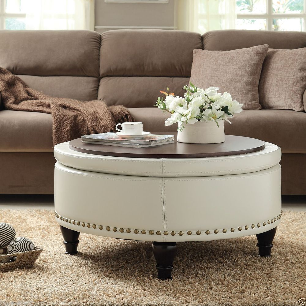 Great Bassett Bonded Leather Round Storage Ottoman Furniture Foot Stool Coffee  Table