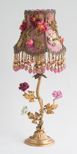 French Boudoir Lamp With Antique Silk Ribbon Roses Victorian