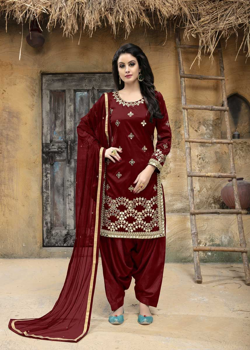 b6050e0e94e Amazing Maroon Color Tafeta Silk Mirror Work Party Wear Patiyala Salwar  Kameez