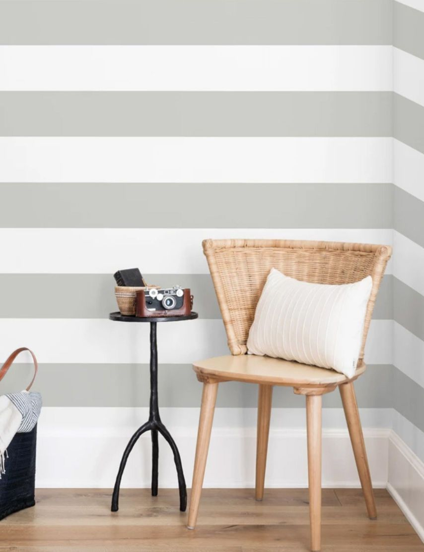 Rugby Stripe Wallpaper By Sugar Paper Grey Striped Wallpaper Living Room Shop Wallpaper