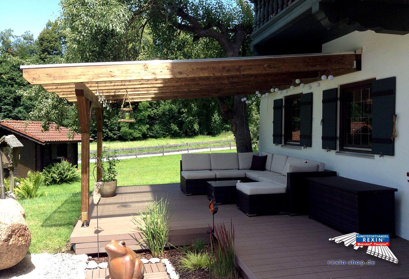 Ein Holz Terrassendach Der Marke Rexocomplete 4m X 4 5m Mit Makrolon Uv 2 16 30 Stegplatten Cc Klar Hi Uberdachung Terrasse Terrassendach Terrassenuberdachung