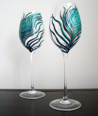 hand painted wine glasses beautiful for halie robin - Wine Glass Design Ideas