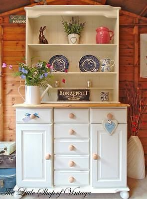 Beautiful Pine Breakfront Welsh Dresser Sideboard Cupboard Cabinet Shabby Chic