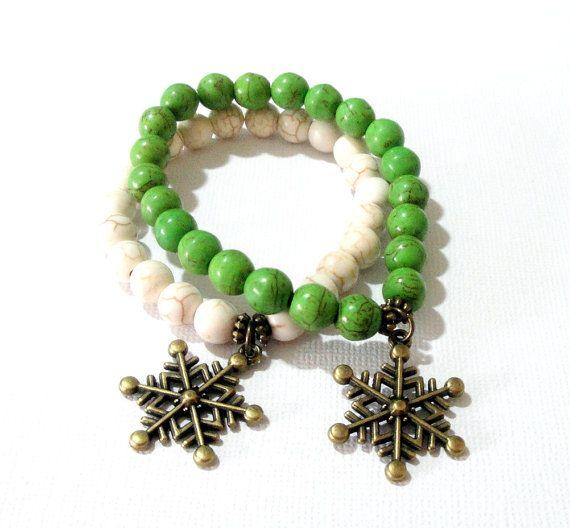 Snowflakes Charm Bracelet Green White Gemstone by BijiJewelry