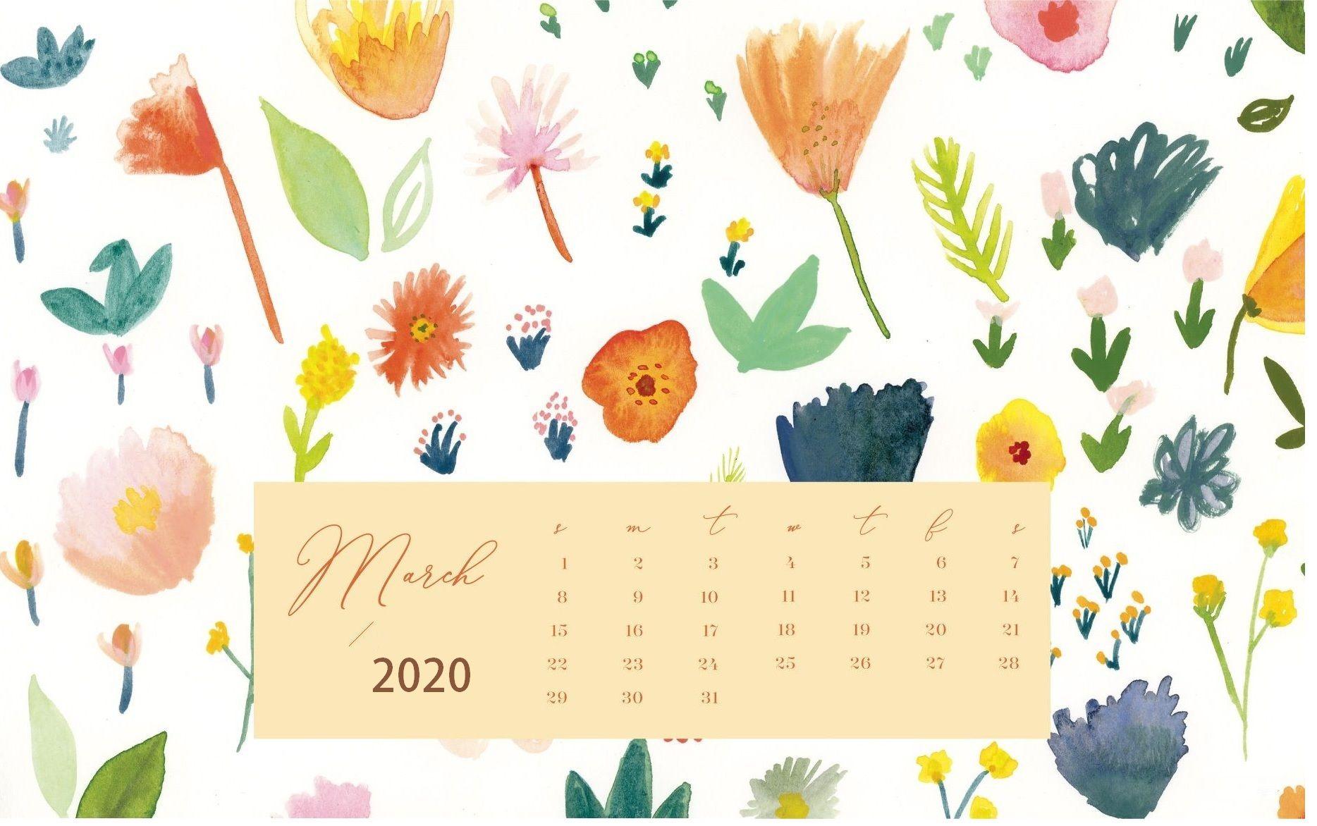 Floral March Calendar 2020 Cute Wallpaper for Desktop