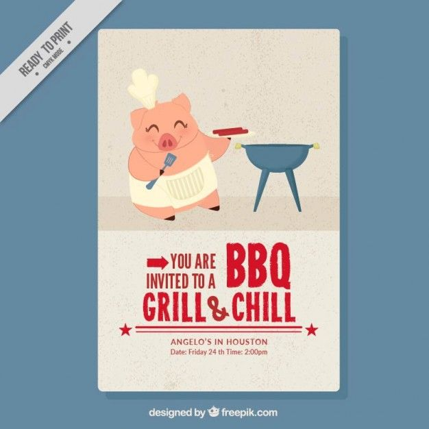 Download Nice Chef Piglet Doing A Barbecue Flyer For Free Restaurant Poster Barbecue Party Roasted Chicken Wings