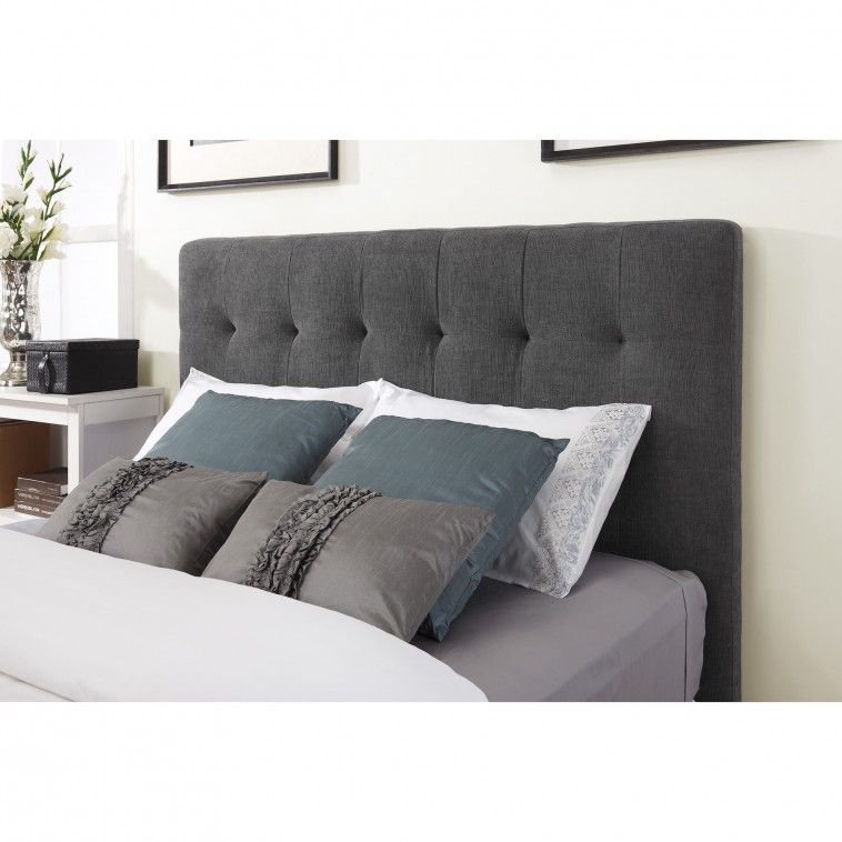 Dark Grey Fabric Headboard Connected By Grey Pillows On