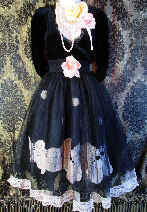Black lace dress goth velvet tulle tiered halloween  boho  rose romantic medium  by vintage opulence on Etsy
