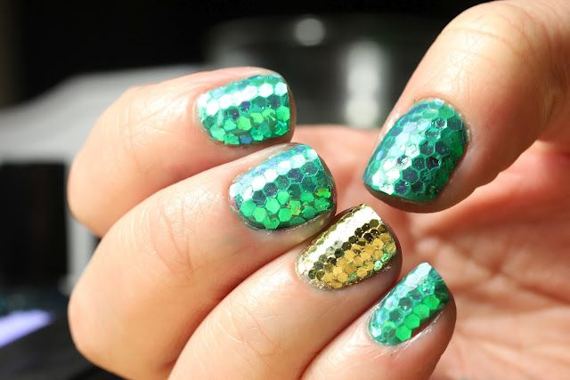 Green and gold Mermaid Nails for St Patrick's Day