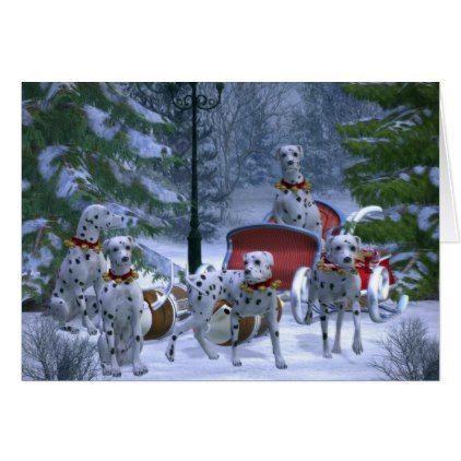 Reindeer Dalmatian Dogs Christmas Greeting Card Christmas cards