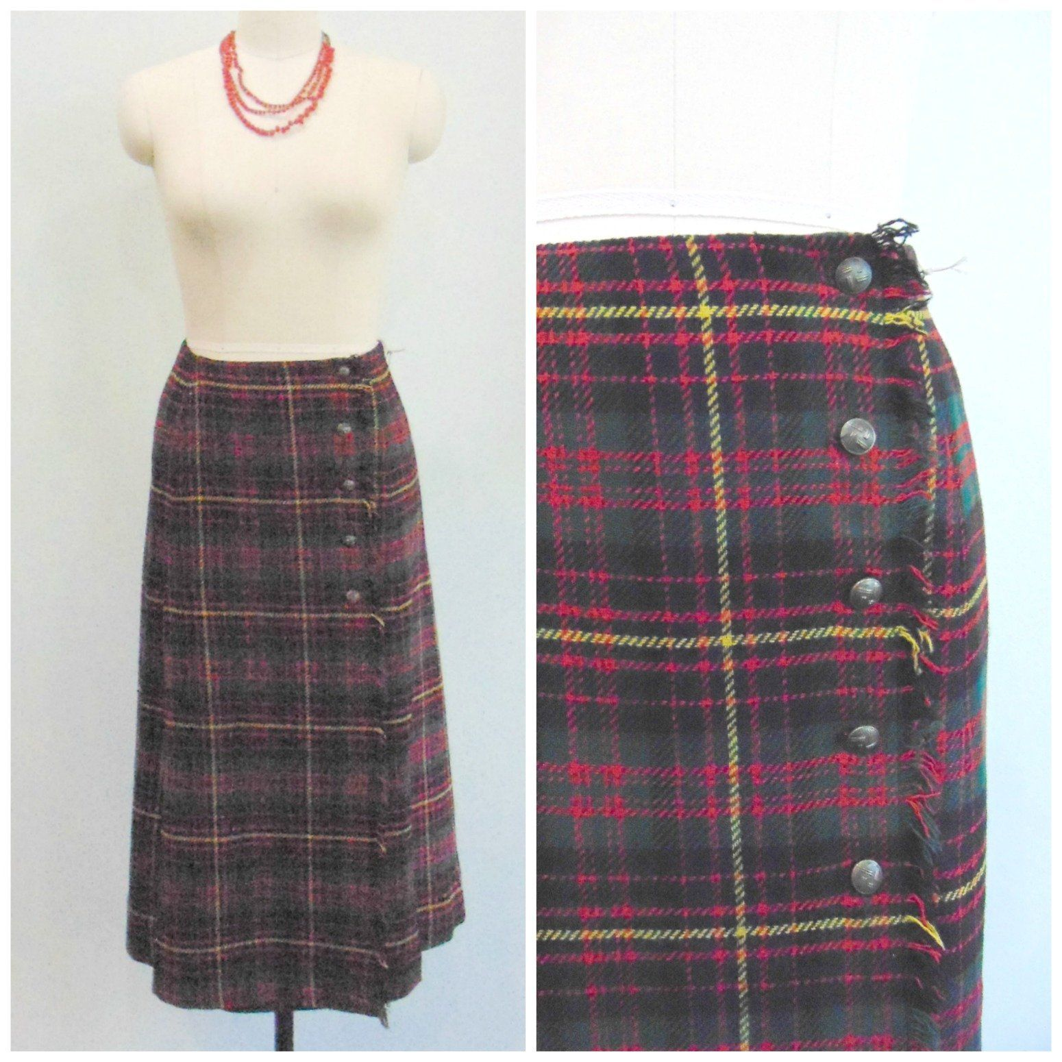 4b0cf6b105 Vintage 1960's Red Plaid Skirt / Tartan Plaid Wrap Skirt / Button Front /  Fringed Wrap / Size Small by HamptonsVintageMrkt on Etsy