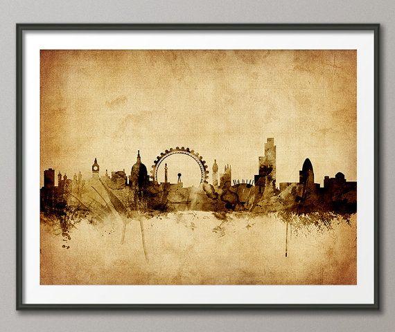 London Skyline London Cityscape England Art Print 2095 Etsy London Cityscape London England Skyline Graphic Art Print