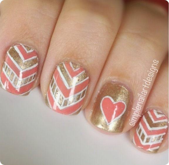 chevron nail art con corazones y esmalte dorado | NAILS | Pinterest ...