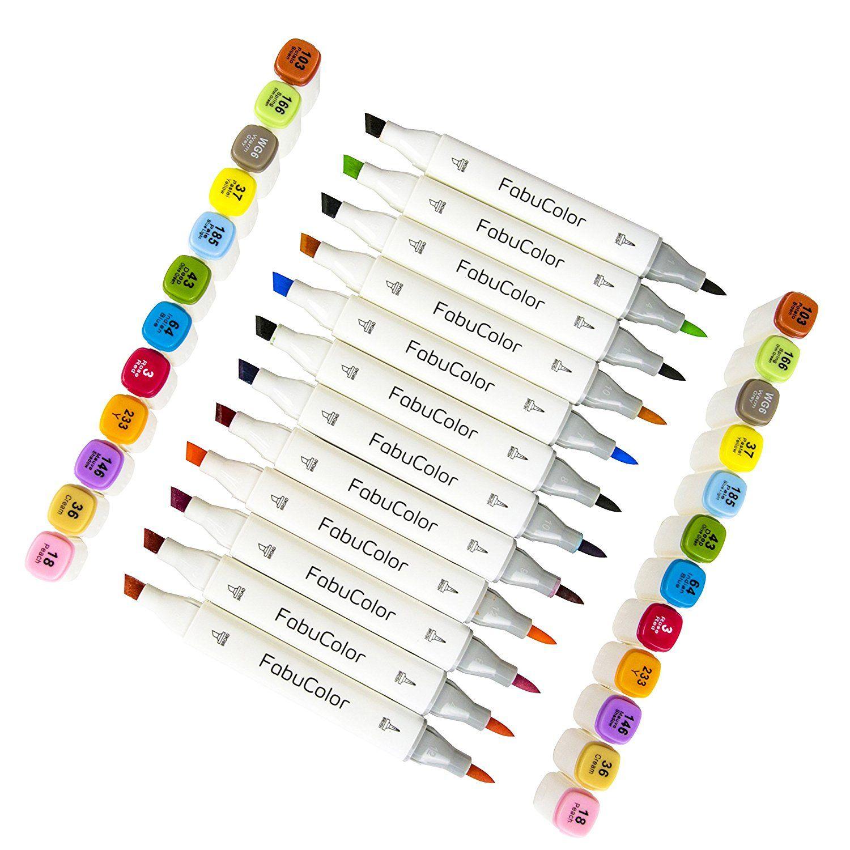 Amazon Com Fabucolor Alcohol Based Markers 12 Brush Chisel