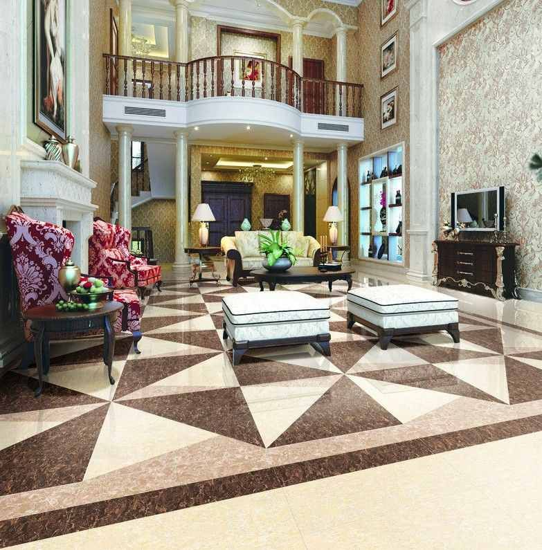 patterned marble floor design for luxury villa interior