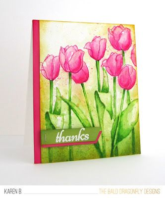 handmade thank you card from The Bald Dragonfly ... bright and beautiful hot pink tulips  ... stamped with Distress Ink and then watercolored along with the background ... a few paint splats too ... beautiful work of art ... Spring Tulips from Altenew ...