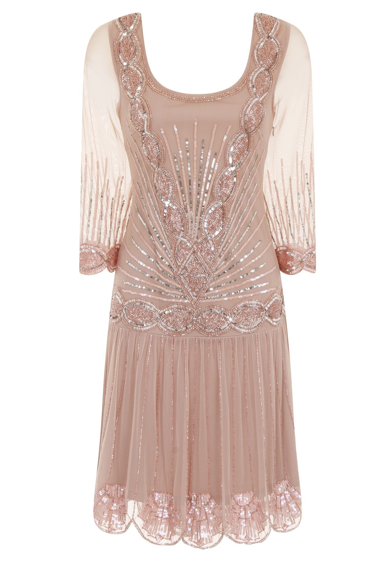 Frock and Frill Zelda Blush Flapper Dress with 3/4 Sleeves ...