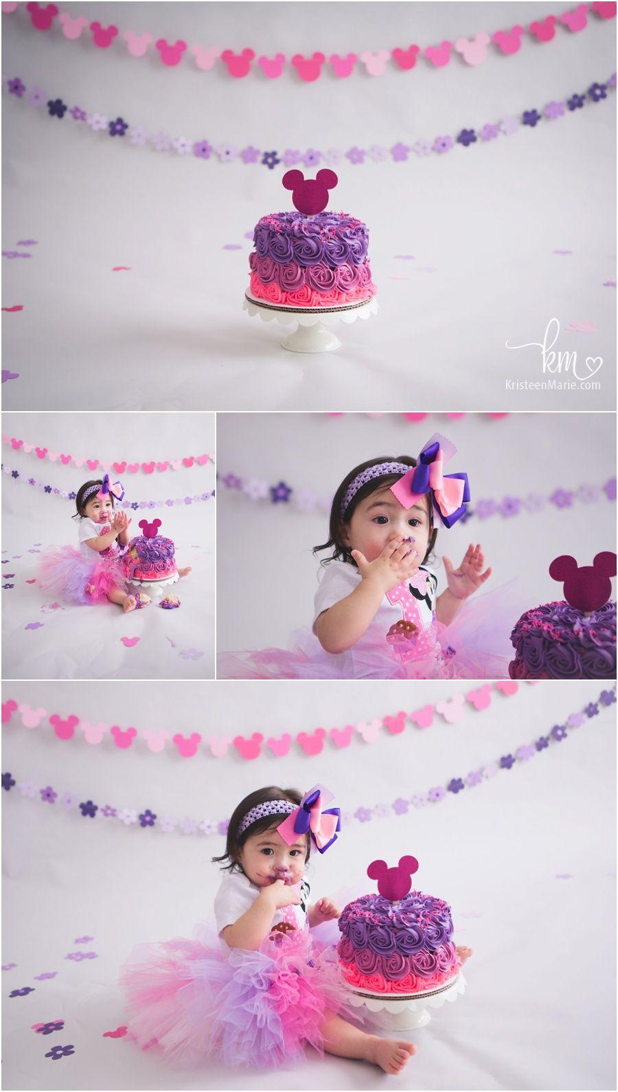 Minnie Mouse Cake Smash Indianapolis Photographer Minnie Birthday Party Minnie Mouse 1st Birthday 1st Birthday Cake Smash