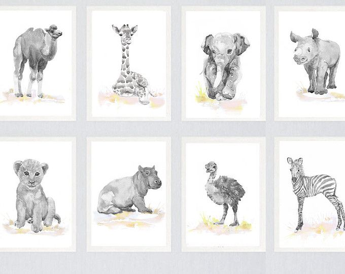 Neutral Nursery Decor Set Of 3 Prints Baby Animals