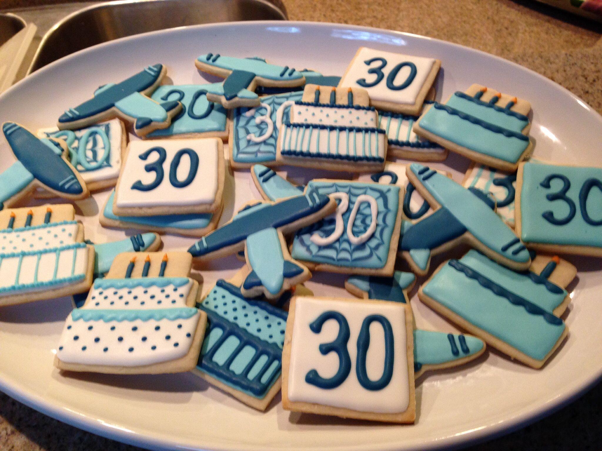 30th birthday airplane cookies sugar cookies decorated