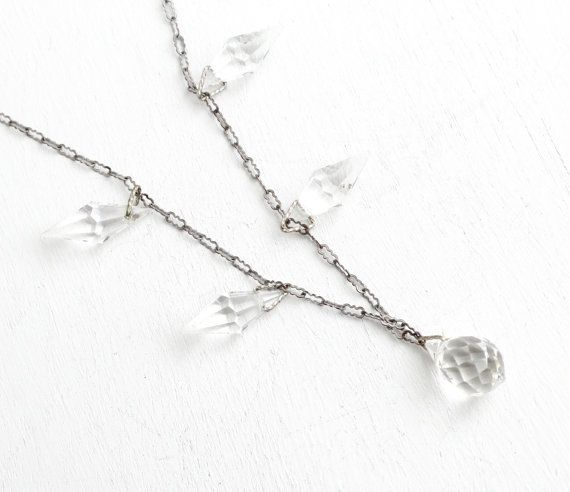 Vintage Art Deco Czech Crystal Glass Necklace -Antique 1930s Silver Tone Clear Faceted Glass Briolette Bridal Wedding Czechoslovakia Jewelry by Maejean Vintage on Etsy, $62.00