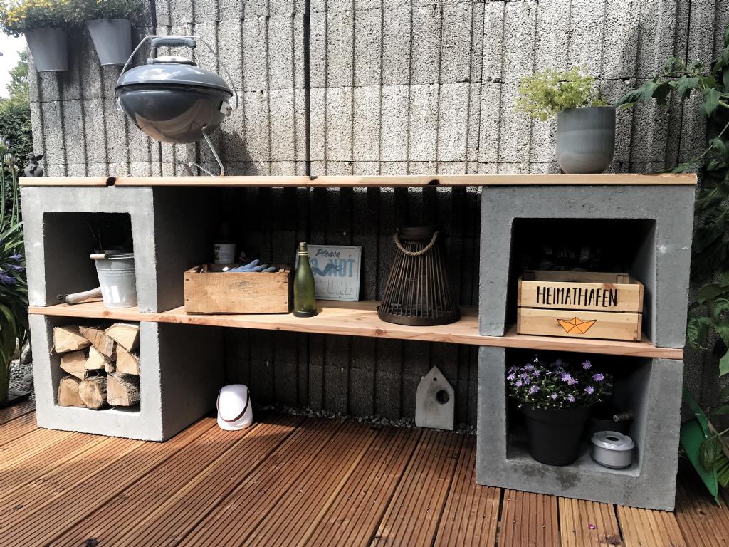 Outdoorregal aus U Steinen   Outdoor shelves, Outdoor kitchen ...